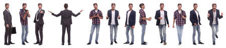 panoramic collage of self-motivated young man .isolated on white background