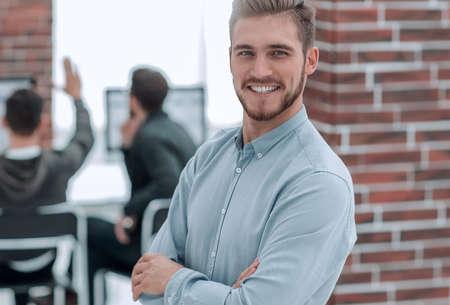Handsome smiling confident businessman portrait.