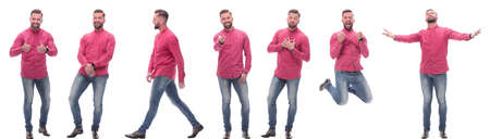 collage of photos of a modern man in a red shirt. isolated on a white background