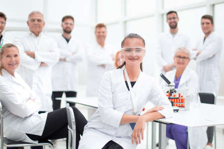 young specialist and tight-knit group of scientific laboratory in the workplace.