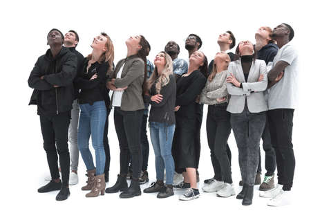 young people look up on a white background