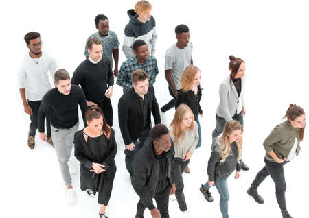 group of diverse young people walking together