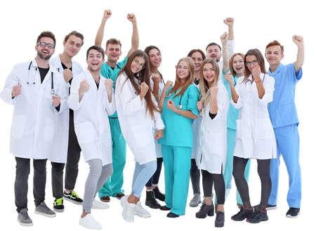 vue de dessus. un groupe de médecins souriants vous montrant du doigt. Banque d'images