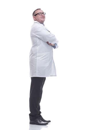 side view. smiling mature doctor looking forward 版權商用圖片