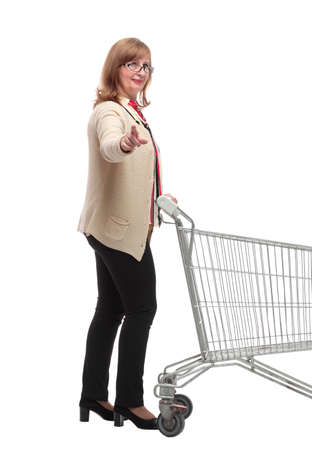 side view. a woman with a shopping cart inviting you
