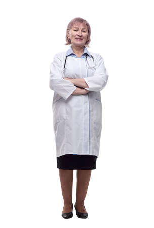 female doctor with a stethoscope. isolated on a white