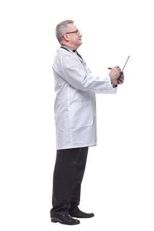 Side view of male doctor whit a clipboard isolated on white background