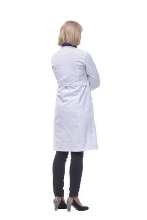Full length portrait of medical doctor woman