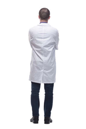 Young professional scientist man wearing white coat over isolated background