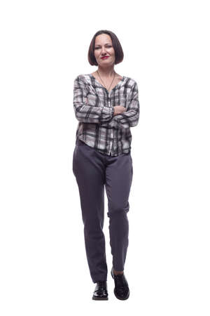 modern mature woman in casual clothing . isolated on a white background.
