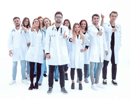 large group of diverse doctors giving a thumbs up Stock Photo