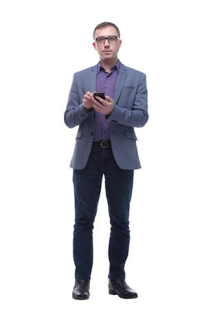 Young handsome business man typing message on smartphone touch screen Standard-Bild - 167073246