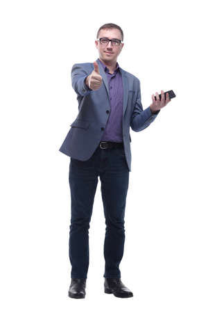 Business man showing thumbs up while talking on the phone Standard-Bild