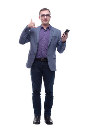 Portrait of young single business man, handsome happy guy, making call me gesture sign isolated white background.