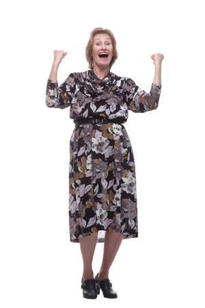 Old adult glad excited cheerful lady smiling, laughing, screaming, raising hands, opened mouth Standard-Bild