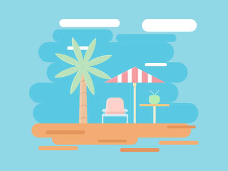 Beach and summer illustration, holiday vector flat design. Design for backdrop, presentation, banner, wallpaper etc. Illustration