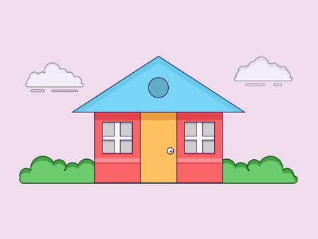 Sweet home vector illustration, building and architecture concepet design. Can use for wallpaper, backdrop, presentation, banner etc.