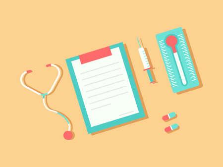 Medical equipment flat vector, health and medicine illustration design. Design for wallpaper, backdrop, presentation, banner etc.