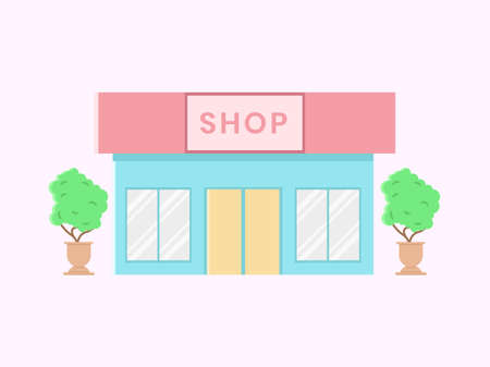 Shop building illustration, with two pottery of plant beside. Marketplace and business flat design concept. Design for banner, backdrop, presentation etc.