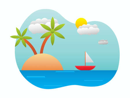 Vector of beach on a sunny day, summer and holiday illustration concept. Design for banner, wallpaper, backdrop, presentation etc.