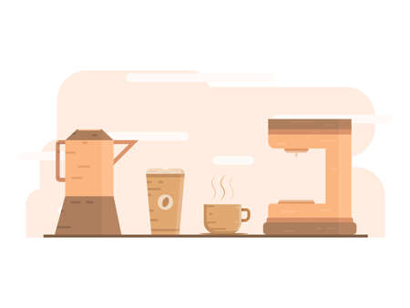 Coffee flat design, any equipment to make it. Food and drink illustration concept. Design for wallpaper, backdrop, presentation, banner etc.