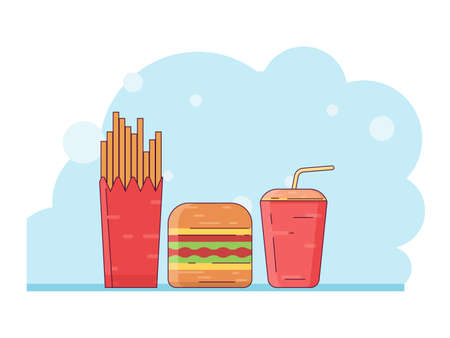 Food and drink vector illustration; fast food design concept with filled line style. Design for wallpaper, backdrop, presentation, banner etc.