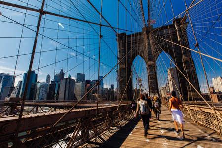 Spring April 2015 People walking on Brooklyn Bridge, New York United States Editorial