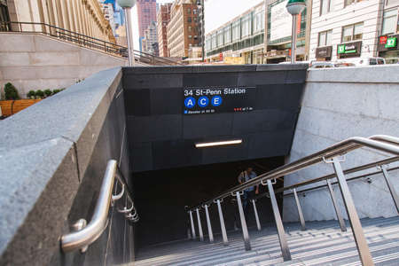 Brand new subway entrance just opened at West 33rd Street and Eight Avenue, New York, 2017