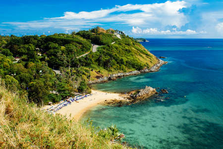 Rawai Beach of Promthep Cape view point in blue sky with clouds, Phuket Thailand Imagens