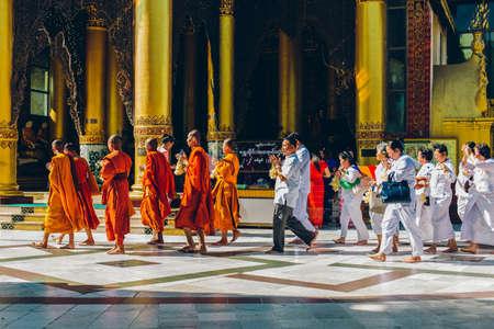 Yangon, Myanmar - FEB 19th 2014: Ordination ceremony at Shwedagon Pagoda