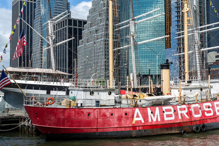 New York City / USA - JUN 25 2018: South Street Seaport in Lower Manhattan in New York City
