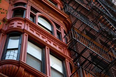 New York, City  USA - JUL 10 2018: Old Buildings of  Brooklyn Heights Neighborhood in New York City