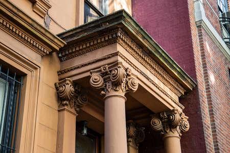 New York, City  USA - JUL 10 2018: Old Buildings of  Brooklyn Heights Neighborhood in New York City