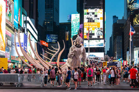 New York City  USA - JUL 13 2018: WAKE, parts of a shipwreck, modeled on the USS Nightingale by Mel Chin on Times Square