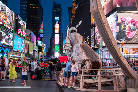 New York City / USA - JUL 13 2018: WAKE, parts of a shipwreck, modeled on the USS Nightingale by Mel Chin on Times Square Editorial