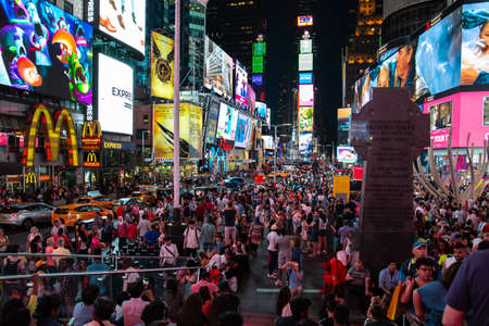 New York City  USA - JUL 13 2018: Times Square with busy traffic in midtown Manhattan