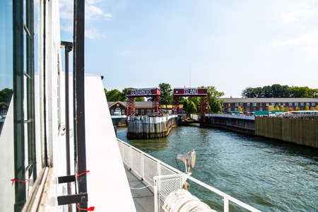 New York City  USA - JUL 14 2018: Governors Island entrance view from ferry on a clear afternoon