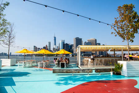 New York City  USA - JUL 14 2018: Oyster bar of Governors Island on a clear friday afternoon Editorial