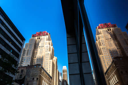 New York City  USA - JUL 13 2018: New Yorker sign of Wyndham Hotel building in midtown Manhattan