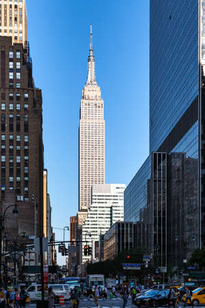 New York City  USA - JUL 13 2018: Empire State building view from 34th street in midtown Manhattan Editorial