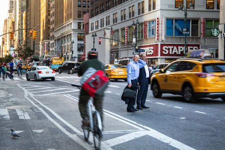 New York City  USA - JUL 13 2018: Seventh avenue street view at rush hour in midtown Manhattan Editorial