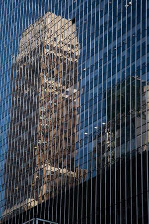 New York City  USA - JUL 13 2018: Skyscraper on  Seventh Avenue  and 34th street in midtown Manahttan Editorial