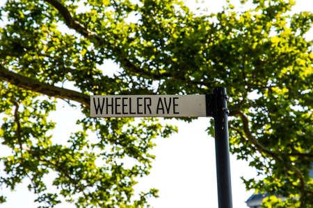 New York City  USA - JUL 14 2018: Wheeler Ave street sign of Governors Island