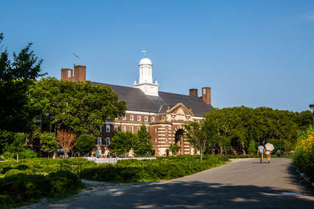 New York City  USA - JUL 14 2018: Fort Jay and Landscape environment of Governors Island Editorial