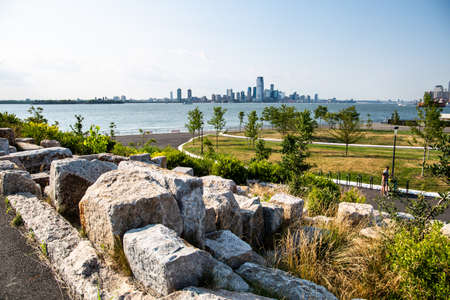 New York City  USA - JUL 14 2018: The giant granite scramble on Outlook Hill on Governors Island