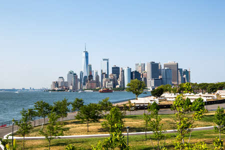 New York City / USA - JUL 14 2018: Lower Manhattan Skyline view from Outlook Hill on Governors Island Editorial