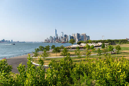 New York City  USA - JUL 14 2018: Lower Manhattan Skyline view from Outlook Hill on Governors Island