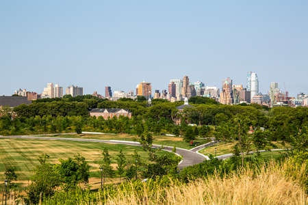 New York City  USA - JUL 14 2018: Brooklyn Downtown Skyline view from Outlook Hill on Governors Island