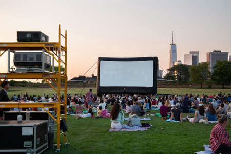 New York City  USA - JUL 14 2018: Escape in New York outdoor films on Governors Island