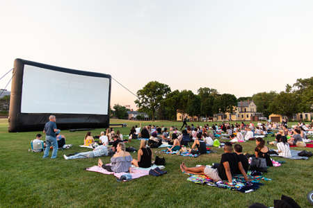 New York City / USA - JUL 14 2018: Escape in New York outdoor films on Governors Island